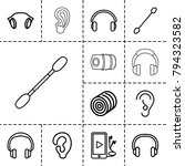 ear icons. set of 13 editable... | Shutterstock .eps vector #794323582