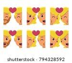 vector set cute kawaii couple... | Shutterstock .eps vector #794328592