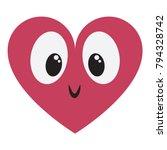 vector cute kawaii  heart with... | Shutterstock .eps vector #794328742