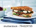 fresh green mozzarella grilled... | Shutterstock . vector #794329735