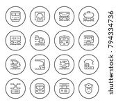 set round line icons of... | Shutterstock . vector #794334736