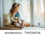 cute happy little child girl is ... | Shutterstock . vector #794336926