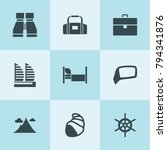 set of 9 travel filled icons... | Shutterstock .eps vector #794341876