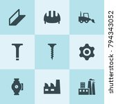set of 9 engineering filled... | Shutterstock .eps vector #794343052