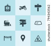 set of 9 road filled icons such ... | Shutterstock .eps vector #794343562