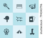 set of 9 leisure filled icons... | Shutterstock .eps vector #794343796