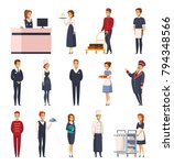 hotel staff cartoon set of... | Shutterstock .eps vector #794348566