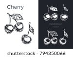 cherries   detailed hand drawn... | Shutterstock .eps vector #794350066