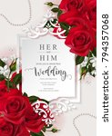 Stock vector wedding invitation card templates with realistic of beautiful flower on background color vector 794357068