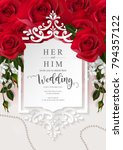 Stock vector wedding invitation card templates with realistic of beautiful flower on background color vector 794357122