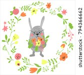pretty rabbit with flowers | Shutterstock .eps vector #794366662