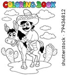 coloring book with man riding... | Shutterstock .eps vector #79436812