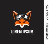 fox head with pilot helmet... | Shutterstock .eps vector #794371792
