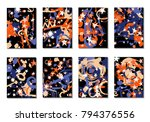 set of 8 covers with doodle... | Shutterstock .eps vector #794376556