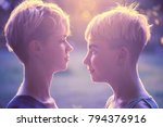 girls with short hair  face to...   Shutterstock . vector #794376916
