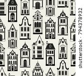 seamless pattern with old... | Shutterstock .eps vector #794378932