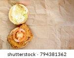 open cheeseburger with chicken... | Shutterstock . vector #794381362