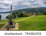 urquhart castle and catapult.... | Shutterstock . vector #794382352