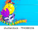 carnival decoration on blue... | Shutterstock . vector #794388106