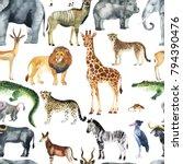 wild animals  giraffe  elephant ... | Shutterstock . vector #794390476