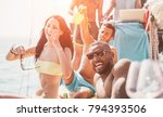 happy friends having fun at... | Shutterstock . vector #794393506