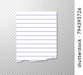 lined torn piece of paper from... | Shutterstock .eps vector #794395726
