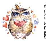 Stock photo i love you lovely watercolor illustration with sweet owls hearts and flowers in awesome colors 794396698