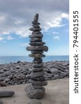 high stone cairn tower  poise... | Shutterstock . vector #794401555