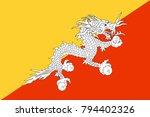 bhutan state flag. vector... | Shutterstock .eps vector #794402326