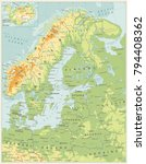 northern europe physical map.... | Shutterstock .eps vector #794408362