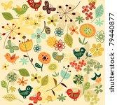 flowers and  birds | Shutterstock .eps vector #79440877