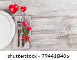 rustic table setting with thyme ... | Shutterstock . vector #794418406