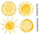 yellow ink shiny weather sun... | Shutterstock .eps vector #794419795
