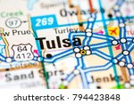 tulsa. oklahoma. usa on a map | Shutterstock . vector #794423848