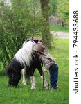 Little cowboy with his horse. Children with small western horse. - stock photo