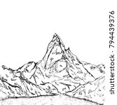 mountains sketch  engraving... | Shutterstock .eps vector #794439376