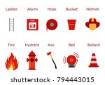 fire fighter equipment. flat... | Shutterstock .eps vector #794443015