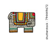 indian elephant in traditional... | Shutterstock .eps vector #794449672