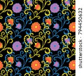 seamless pattern with flowers... | Shutterstock .eps vector #794450632