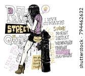 banner with  trendy girl in... | Shutterstock .eps vector #794462632