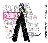 banner with  trendy girl in... | Shutterstock .eps vector #794462656