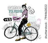 banner with  trendy girl in... | Shutterstock .eps vector #794463022