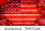 usa flag autumn background with ... | Shutterstock . vector #794472166