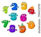 funny vector cartoon numbers... | Shutterstock .eps vector #794473795