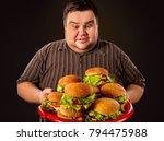 diet failure of fat man eating...   Shutterstock . vector #794475988