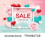 valentines day sale poster with ... | Shutterstock .eps vector #794486728