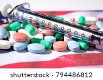 pills  various  on american... | Shutterstock . vector #794486812