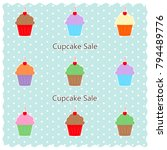 variety of cupcakes   cupcake... | Shutterstock . vector #794489776