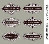 set of vintage circle frames... | Shutterstock .eps vector #794489956