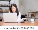 beautiful asian young woman... | Shutterstock . vector #794491852